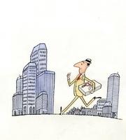 高層ビルとのしのついた箱を持つビジネスマン
