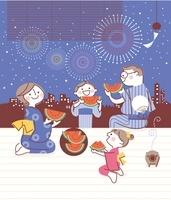 スイカを食べながら花火を見る家族