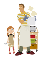 料理をする父子 20037007438| 写真素材・ストックフォト・画像・イラスト素材|アマナイメージズ