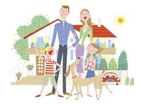 家の前で笑う家族