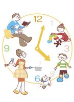 時計の上でそれぞれの時間を過ごす家族