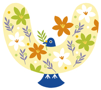 いっぱいの花と鳥