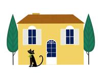 家の前にいる黒ネコ