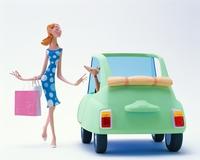 車に寄る女性と犬 20037007747| 写真素材・ストックフォト・画像・イラスト素材|アマナイメージズ