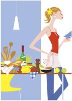 料理をはじめる女性