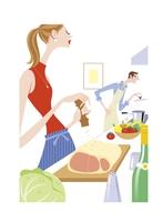 料理をする女性と男性