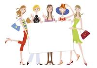 メッセージボードを持つ女性たち