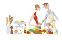 料理を楽しむ家族