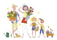 花を抱える仲の良い家族イメージ