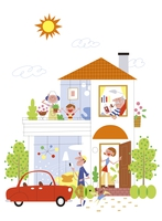 家で暮らしを楽しむ三世代家族イメージ