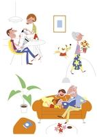 それぞれの時間を楽しむ家族イメージ