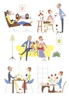 それぞれの時間を楽しむ家族イメージ 20037007960| 写真素材・ストックフォト・画像・イラスト素材|アマナイメージズ