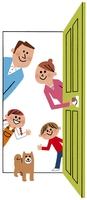 ドアをあける家族と犬