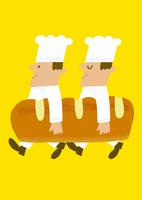 パンを持ったパン職人