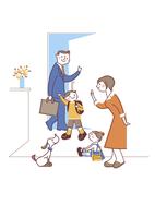 玄関で家族を送り出す母親