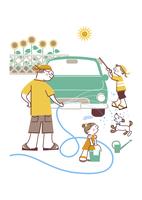 車を洗う家族 20037008086| 写真素材・ストックフォト・画像・イラスト素材|アマナイメージズ