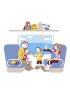 電車で出掛ける家族