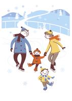 アイススケートを楽しむ家族