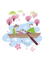 ボートを楽しむ家族