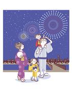 花火を楽しむ家族 20037008105| 写真素材・ストックフォト・画像・イラスト素材|アマナイメージズ