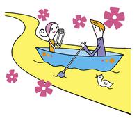 ボートに乗るカップル