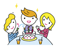 ケーキでお祝いをする男性と女性