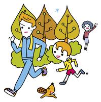 ジョギングをする親子