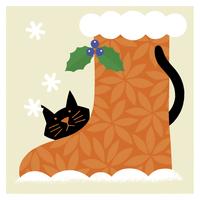 クリスマスブーツと猫