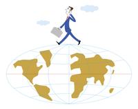 ビジネスイメージ 地球の上を歩く男性