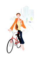 自転車通勤をする女性