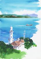 港町の風景 水彩