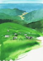 牛のいる牧場の風景 水彩