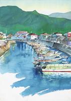 漁村の風景 水彩
