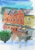 赤レンガ倉庫と運河のある風景 水彩