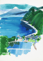 農村の風景 水彩