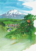 リンゴ畑のある風景 水彩 20037008292| 写真素材・ストックフォト・画像・イラスト素材|アマナイメージズ