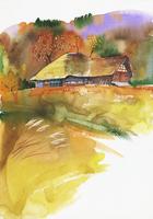 古民家のある風景 水彩 20037008293| 写真素材・ストックフォト・画像・イラスト素材|アマナイメージズ
