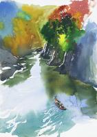 紅葉した渓谷の風景 水彩 20037008294| 写真素材・ストックフォト・画像・イラスト素材|アマナイメージズ