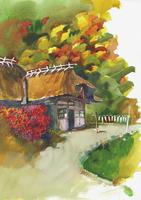 古民家のある風景 水彩 20037008295| 写真素材・ストックフォト・画像・イラスト素材|アマナイメージズ