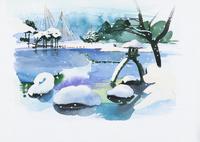 雪の積もった日本庭園 水彩