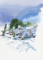 雪の積もった古民家 水彩