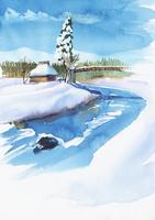 雪の積もった風景 水彩