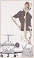 飛行機と女性 旅行イメージ