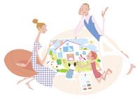家の絵を描く家族