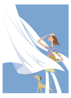 洗濯物を干す女性 20037008391| 写真素材・ストックフォト・画像・イラスト素材|アマナイメージズ