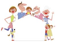 家の形のメッセージボードを囲む家族 20037008442| 写真素材・ストックフォト・画像・イラスト素材|アマナイメージズ