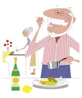 料理を楽しむ老夫婦のイメージ