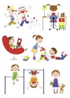 遊びと勉強に励む子供たち