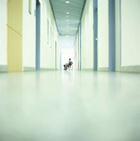 Wheelchair in corridor