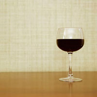 A glass with red wine
